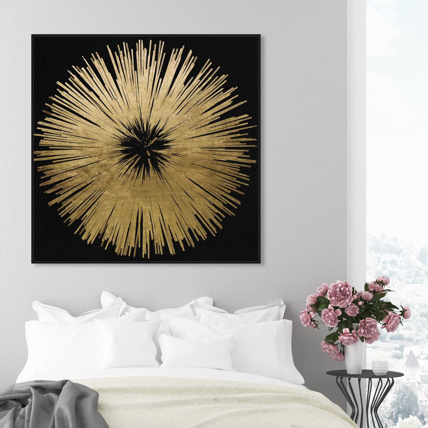 Hanging view of Sunburst Golden Night featuring abstract and paint art.