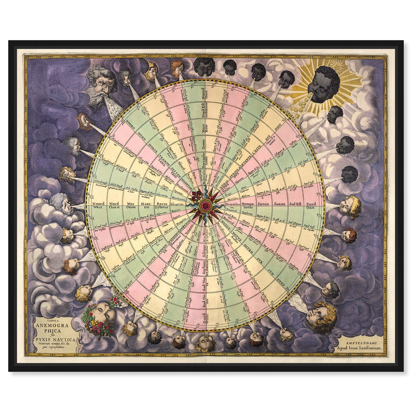 Front view of Tabula Anemographica featuring spiritual and religious and zodiac art.