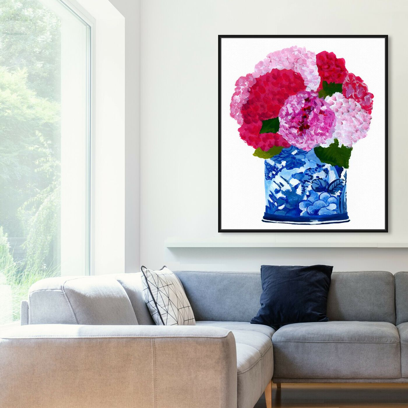Hanging view of Hyndrangeas Vase featuring floral and botanical and florals art.