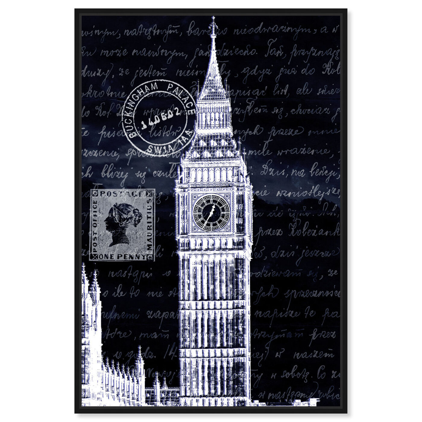 Front view of Letters to Big Ben Night featuring architecture and buildings and european buildings art.