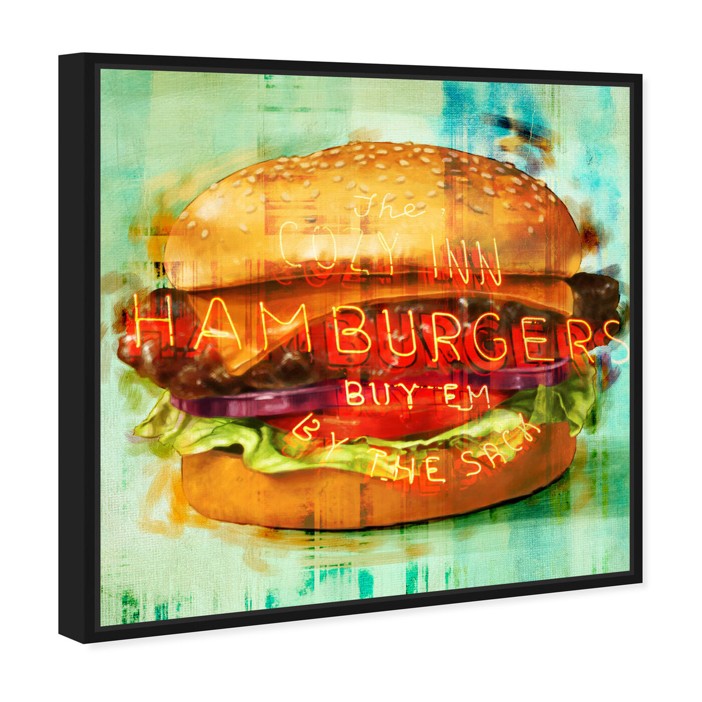 Angled view of Cozy Hamburgers featuring food and cuisine and fast food art.