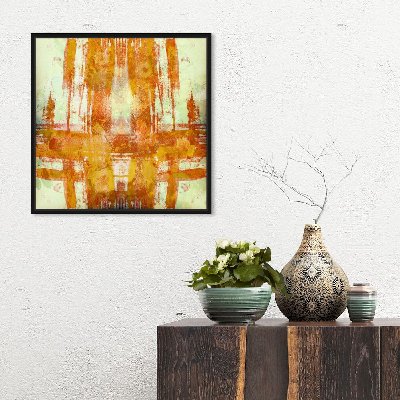 Hanging view of Jaune featuring abstract and paint art.