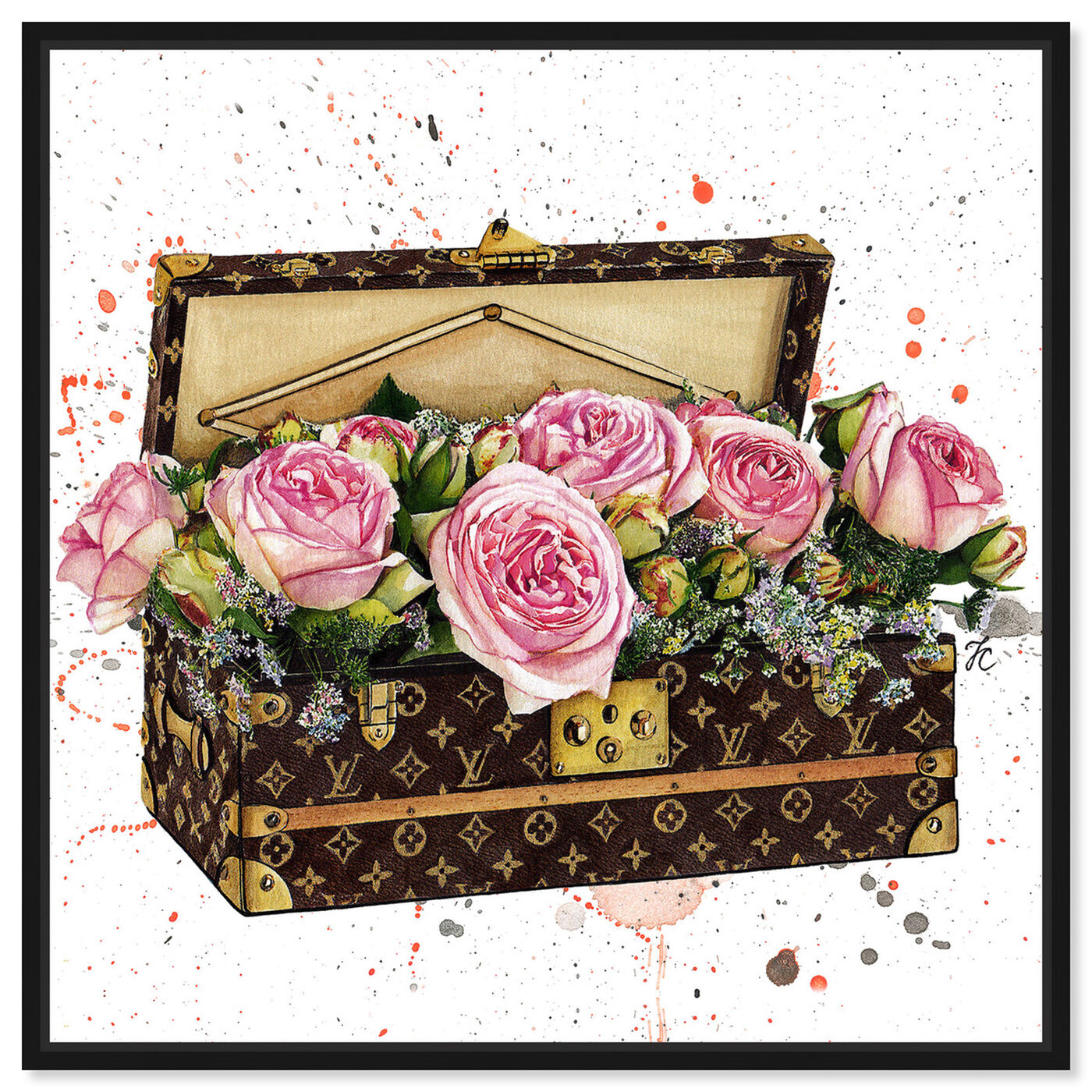 Front view of Doll Memories - Trunk Full of Flowers featuring fashion and glam and travel essentials art.