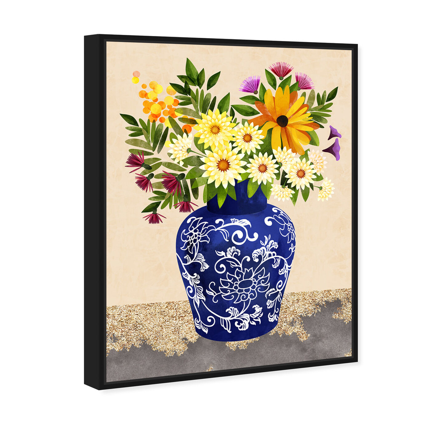 Angled view of Flor Porcelain II featuring floral and botanical and florals art.