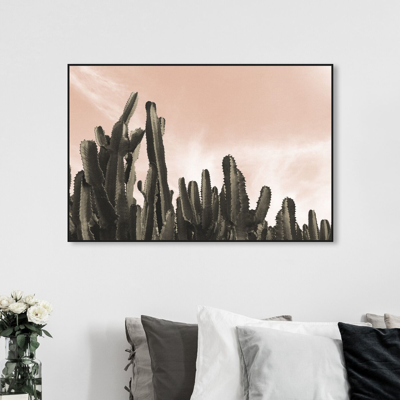 Hanging view of Dream Landscape Cactus Desert featuring floral and botanical and botanicals art.