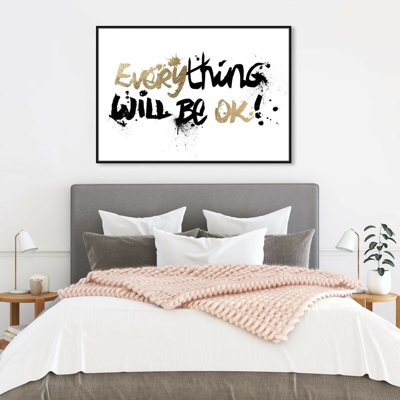 Hanging view of Everything Will Be II featuring typography and quotes and motivational quotes and sayings art.