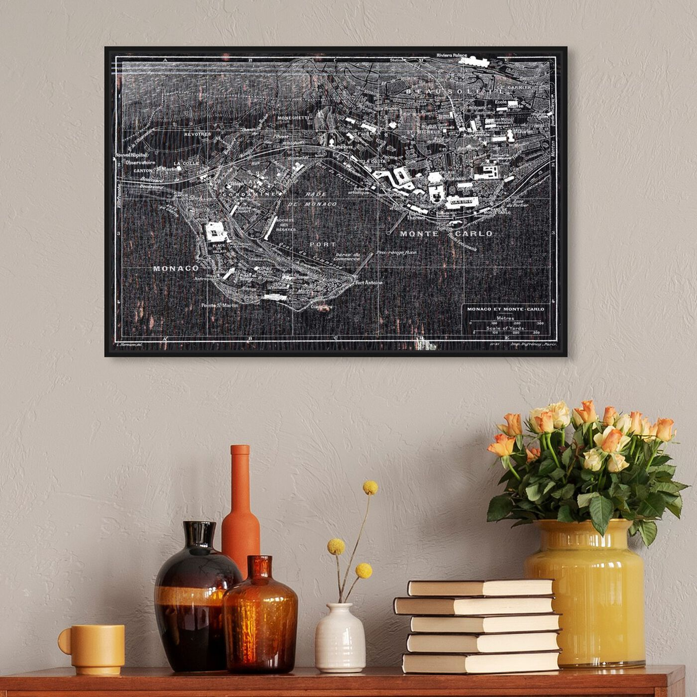 Hanging view of Map of Monaco 1921 featuring maps and flags and european countries maps art.
