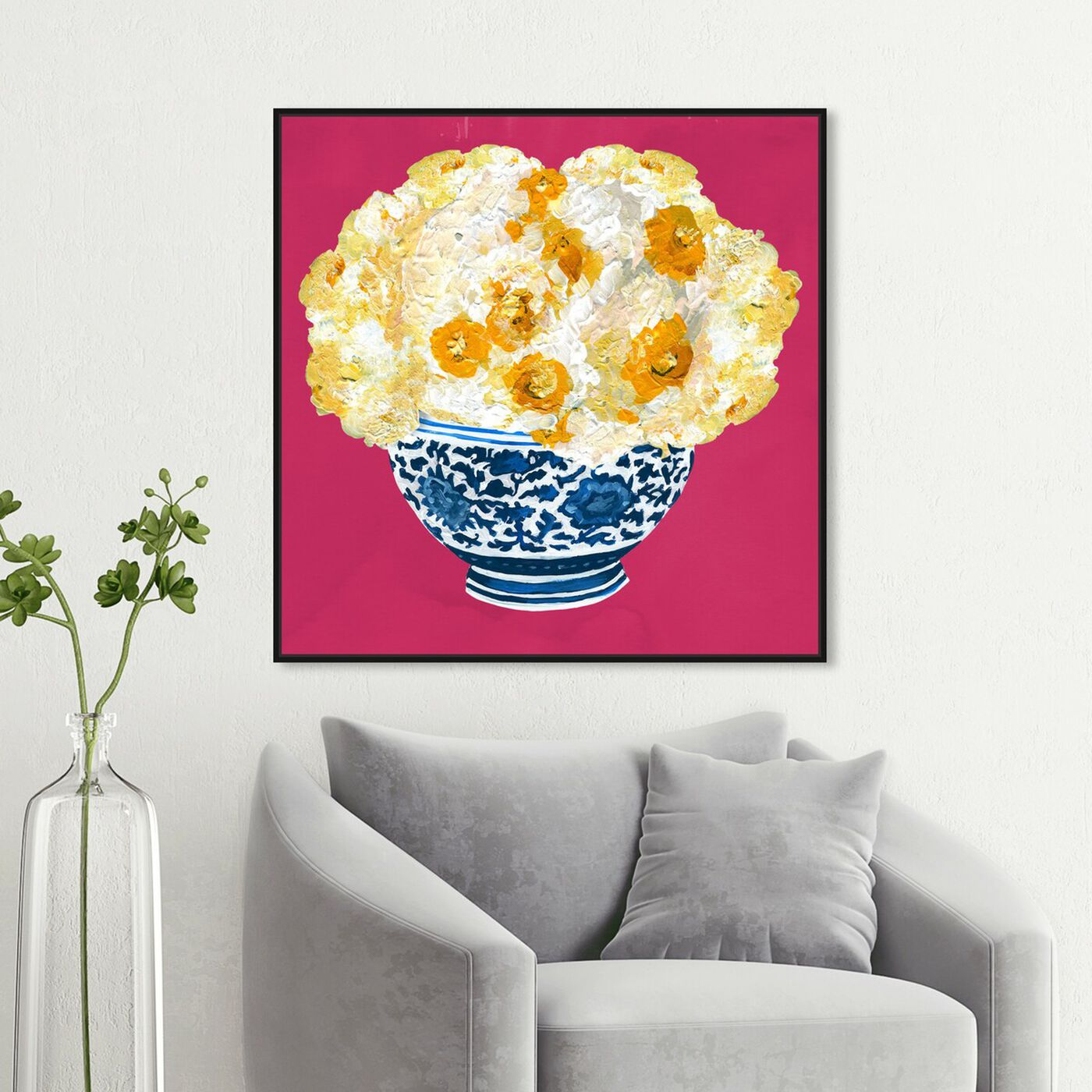 Hanging view of Blue and Yellow Vase Magenta featuring floral and botanical and florals art.