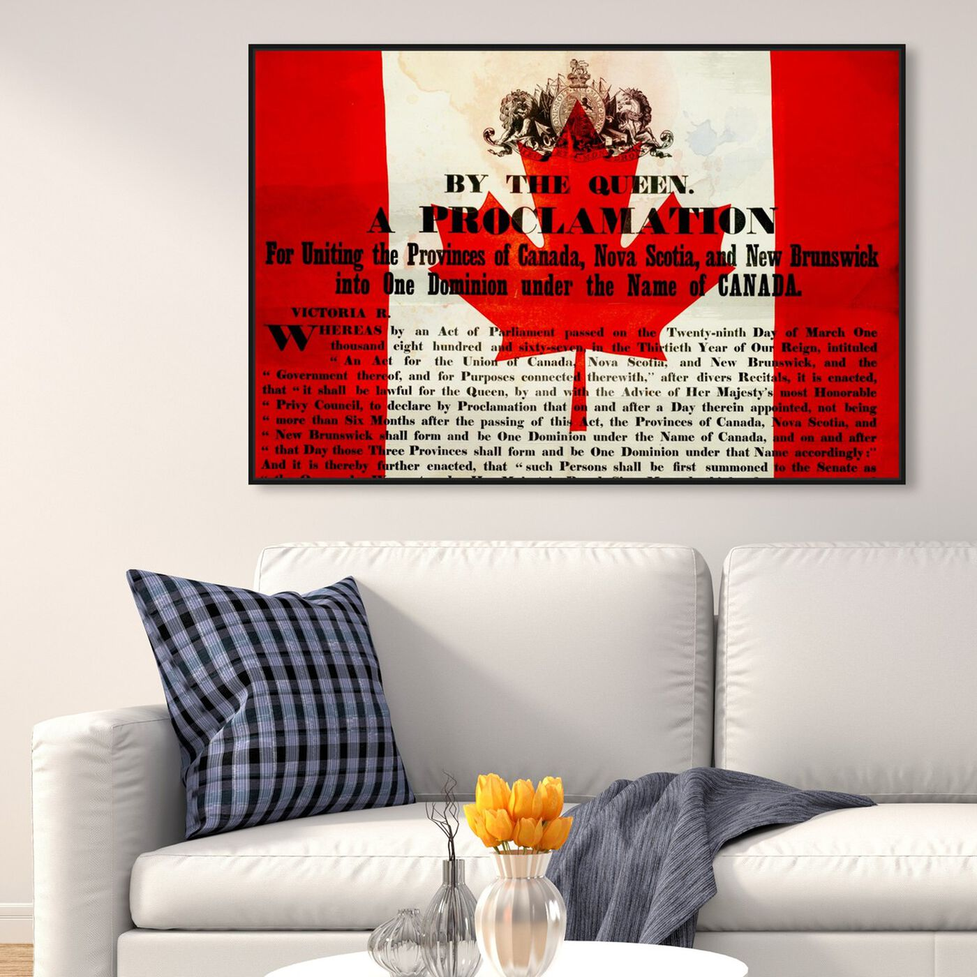 Hanging view of Proclamation of Canada featuring world and countries and north american cultures art.
