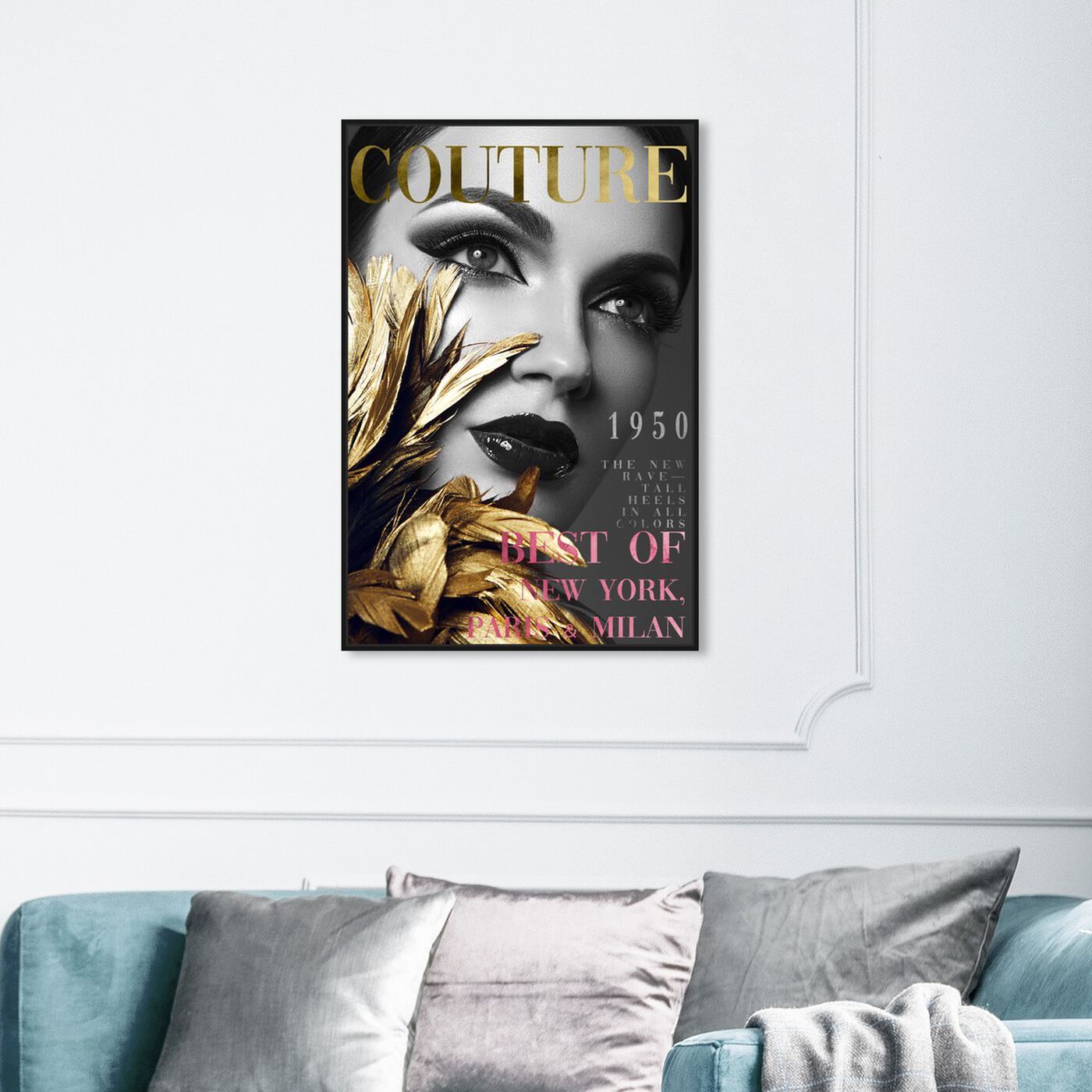 Hanging view of Cover Fashion Feathered Couture featuring fashion and glam and makeup art.
