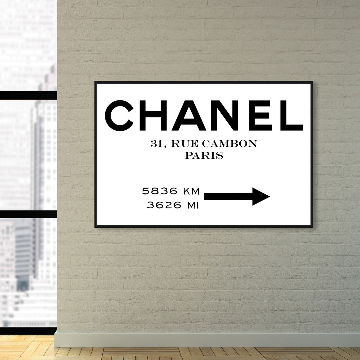 Hanging view of Couture Road Sign Minimalist I featuring fashion and glam and road signs art.