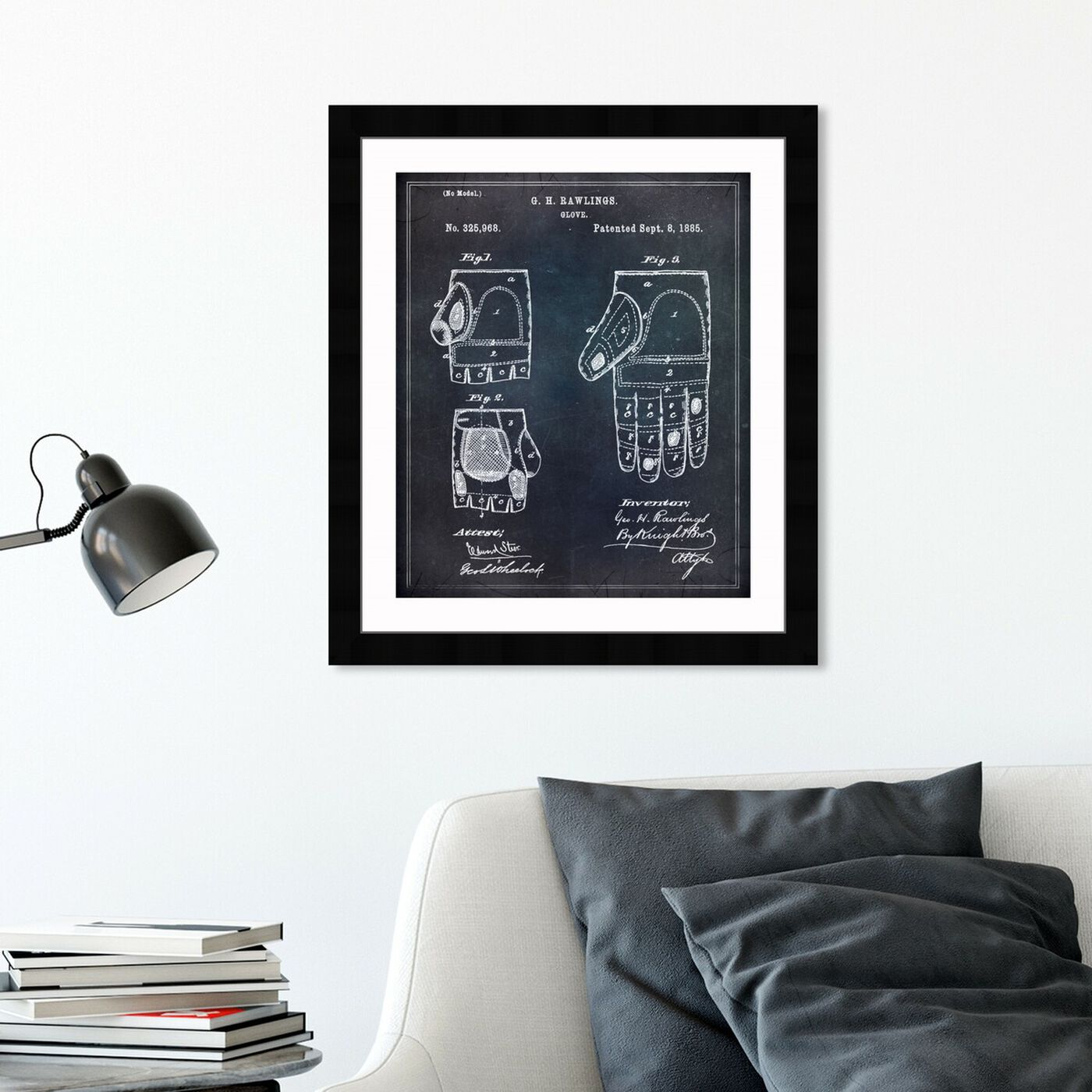 Hanging view of Rawlings Baseball Mitt featuring sports and teams and baseball art.
