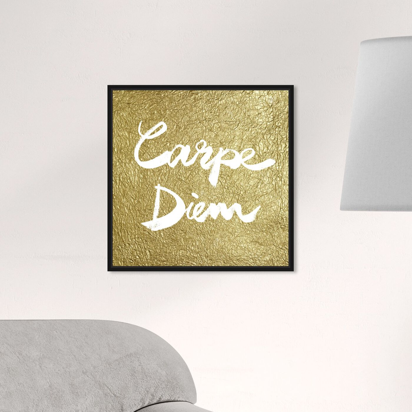 Hanging view of Carpe Diem Gold featuring typography and quotes and inspirational quotes and sayings art.
