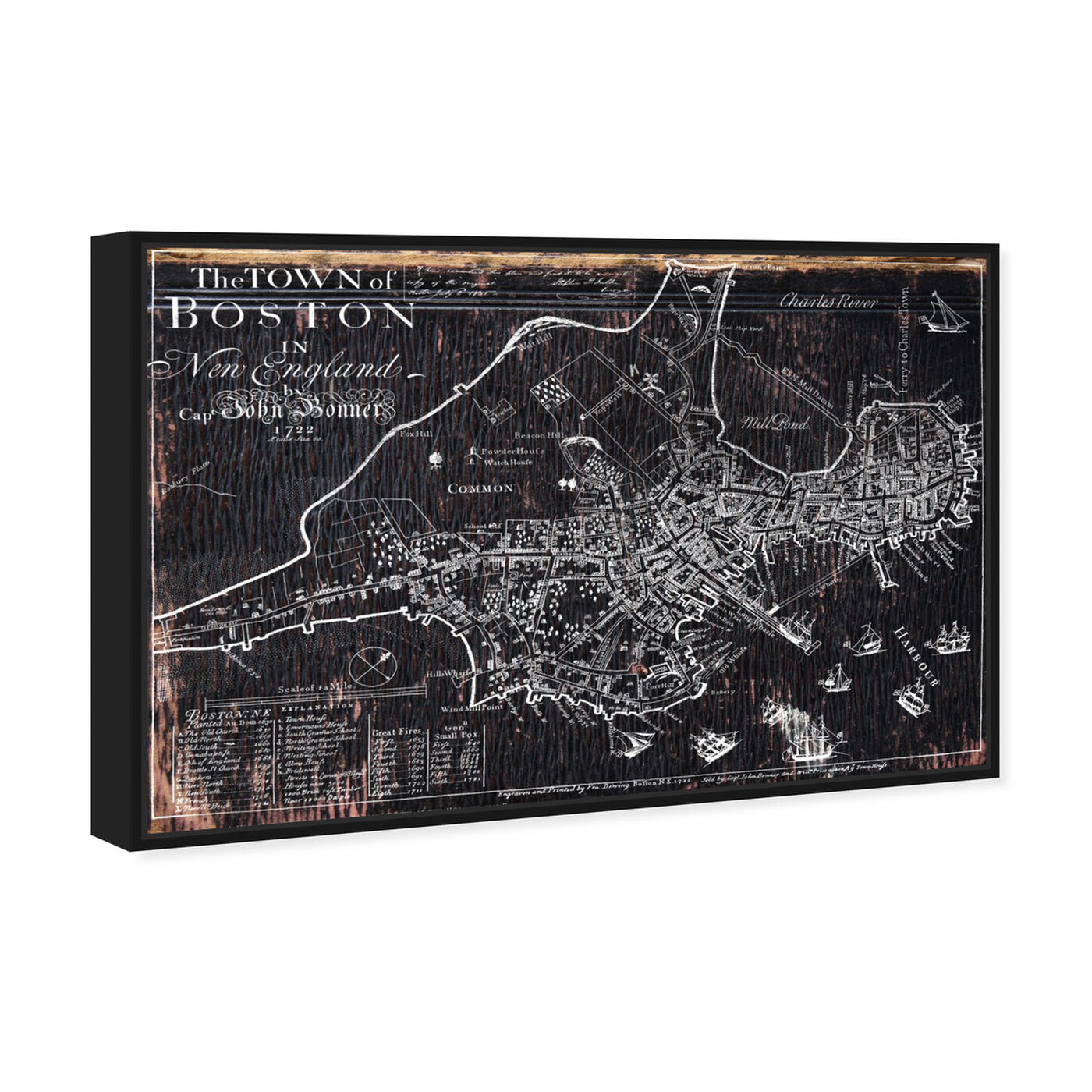 Angled view of Town of Boston Map 1722 featuring maps and flags and us cities maps art.