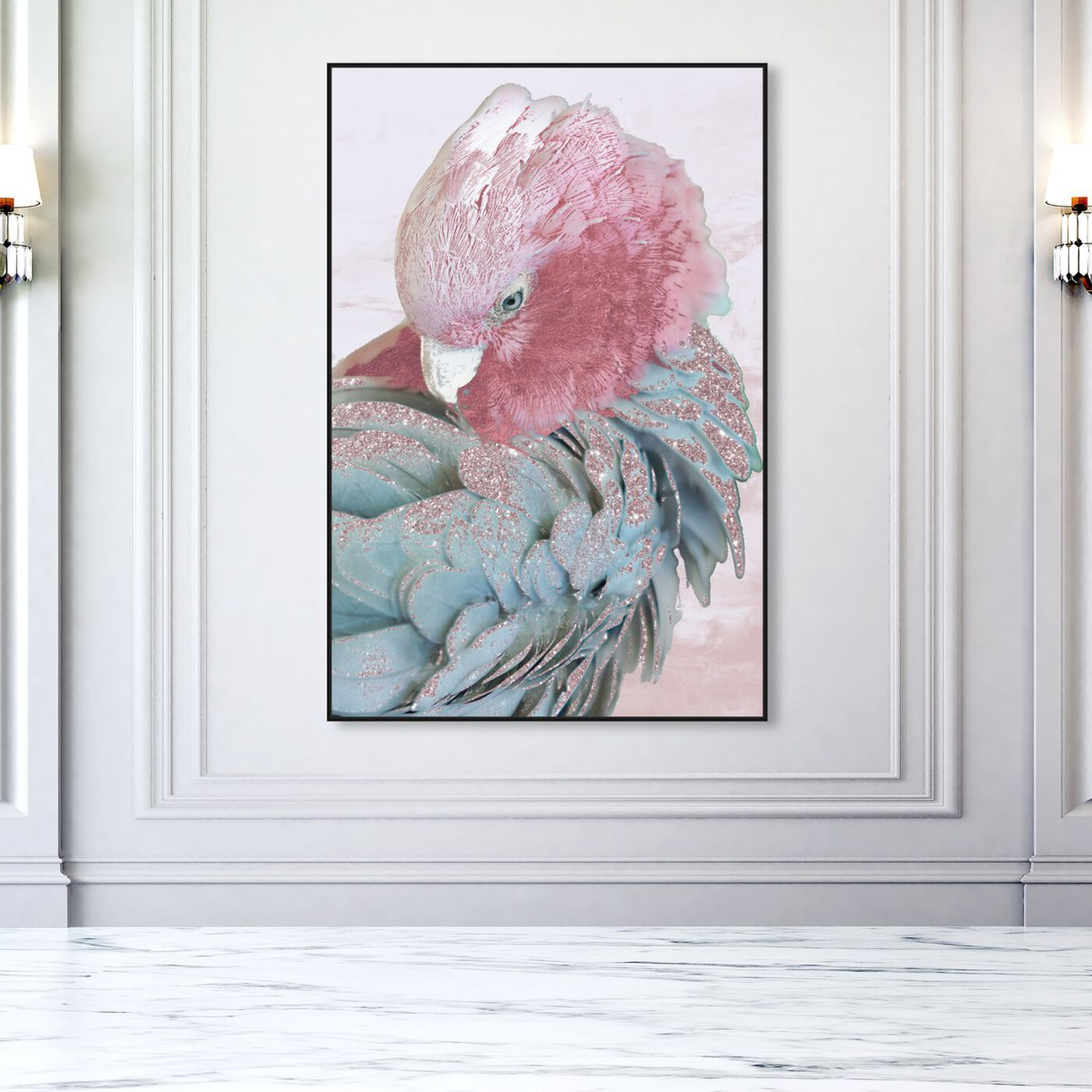 Hanging view of Cockatoo in Sydney Blush featuring animals and birds art.