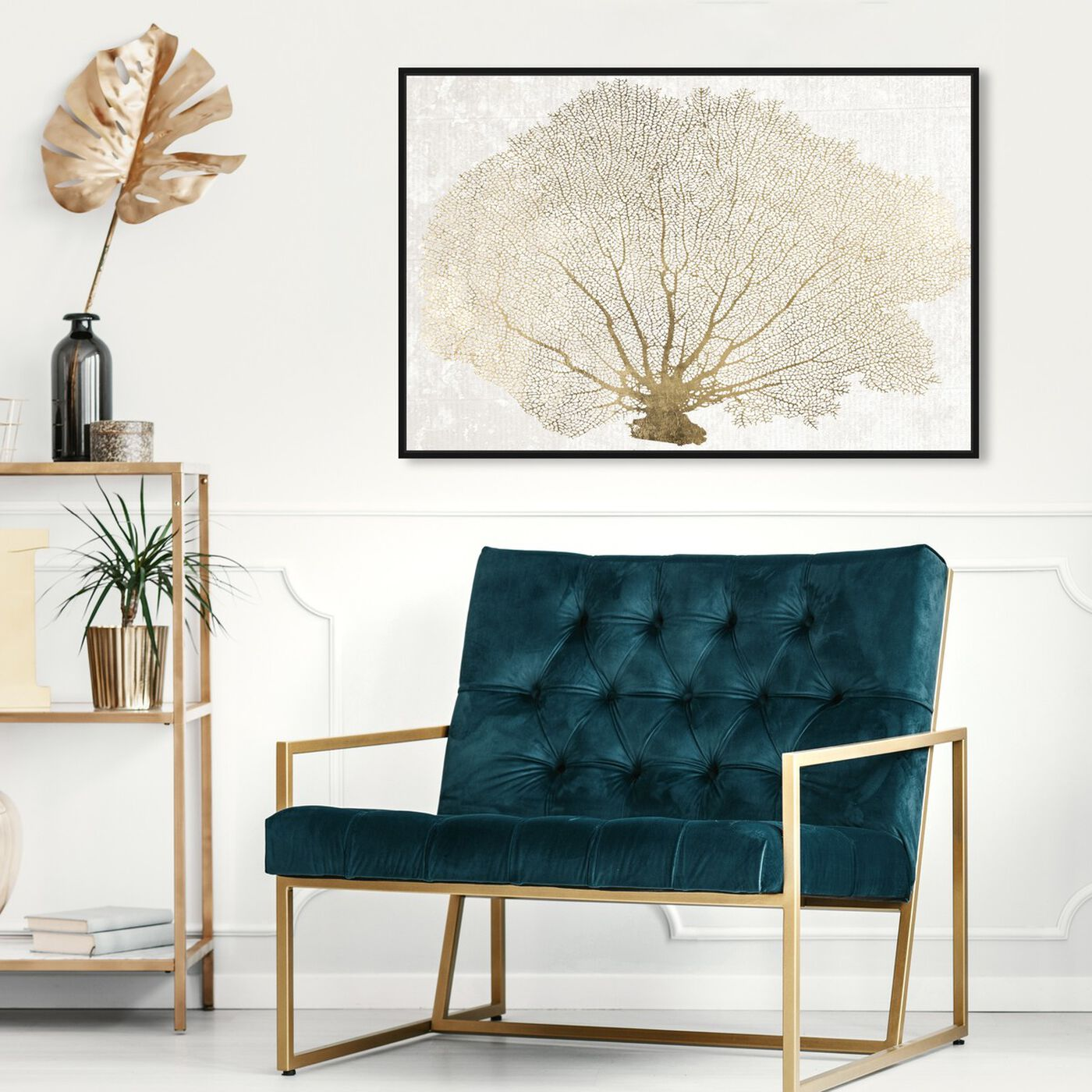 Hanging view of Gold Coral Fan featuring nautical and coastal and marine life art.