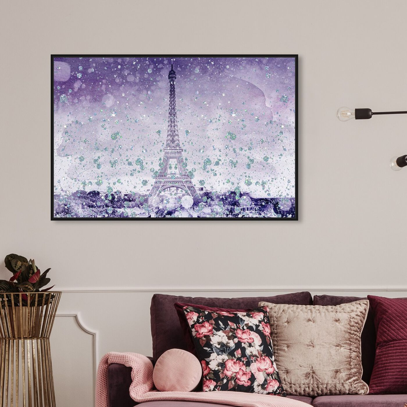Hanging view of Eiffel Violet featuring cities and skylines and european cities art.