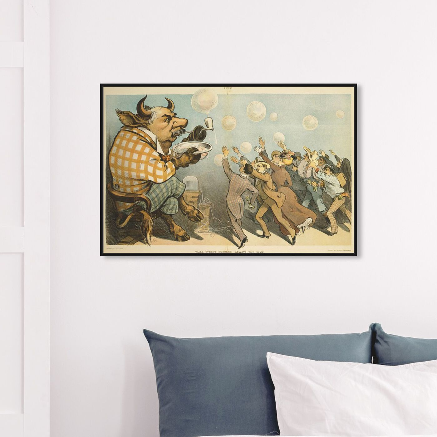 Hanging view of Wall Street Bubbles featuring classic and figurative and modern classic art.