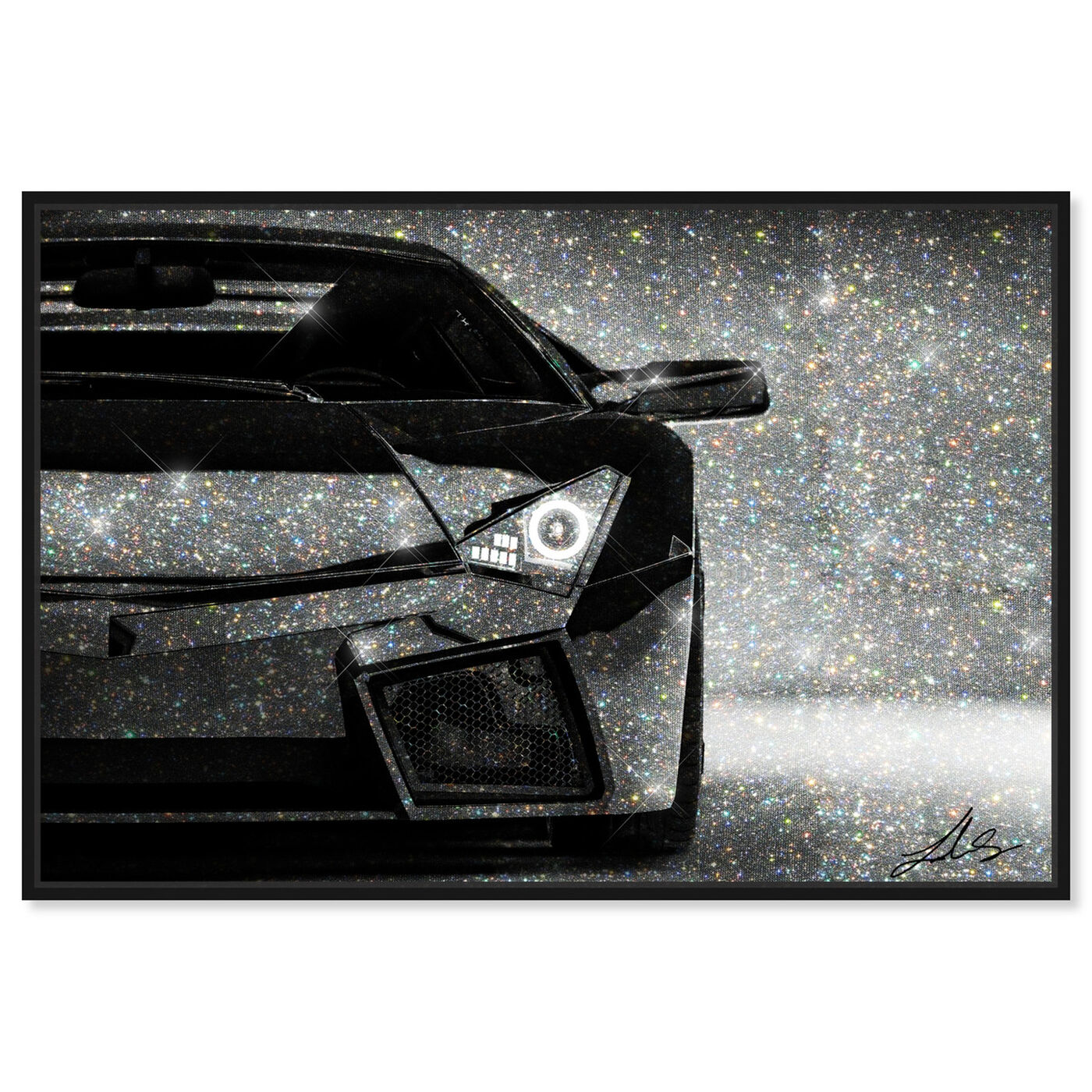 Front view of Love Doesn't Drive a Lambo featuring transportation and automobiles art.