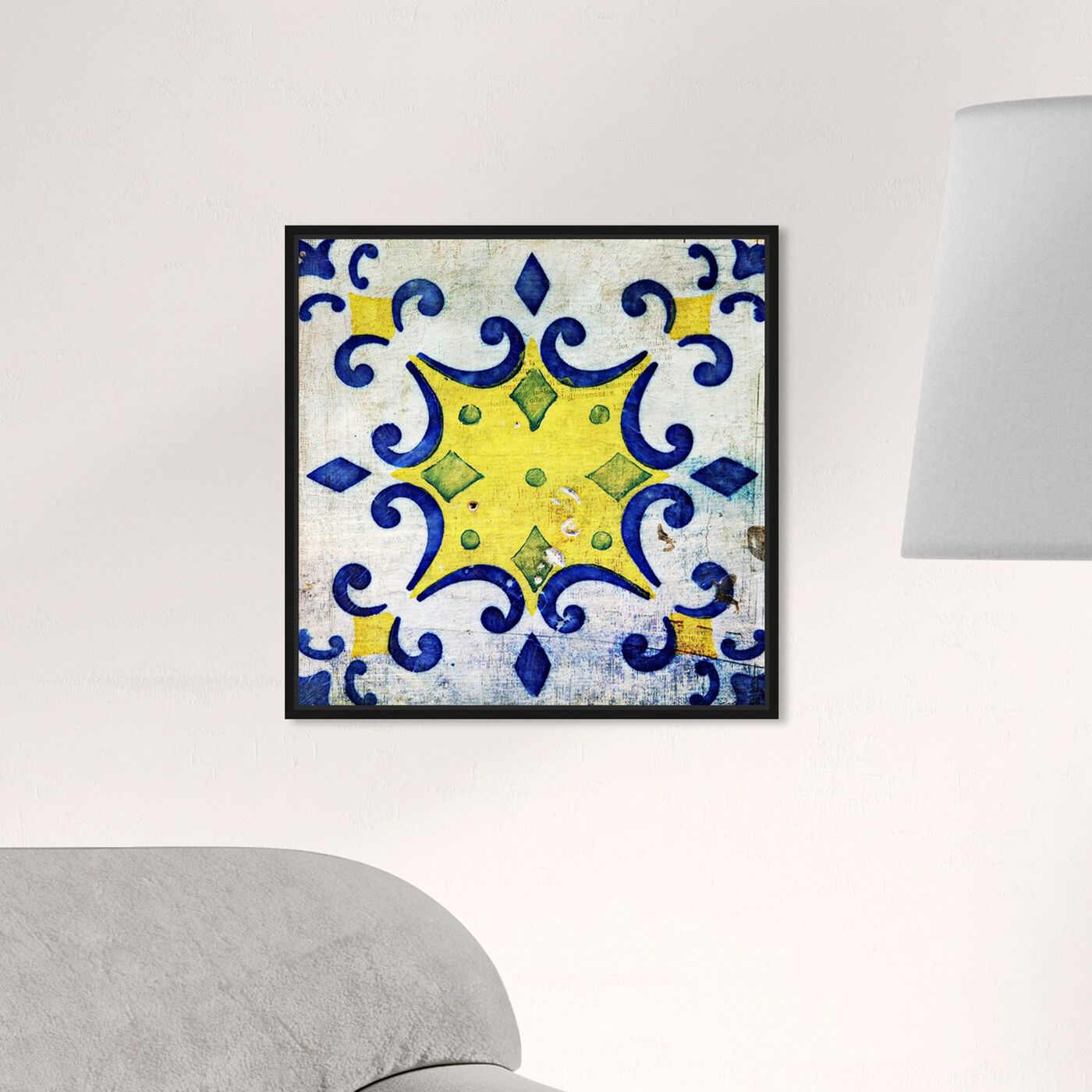 Hanging view of Vita Yellow featuring abstract and patterns art.