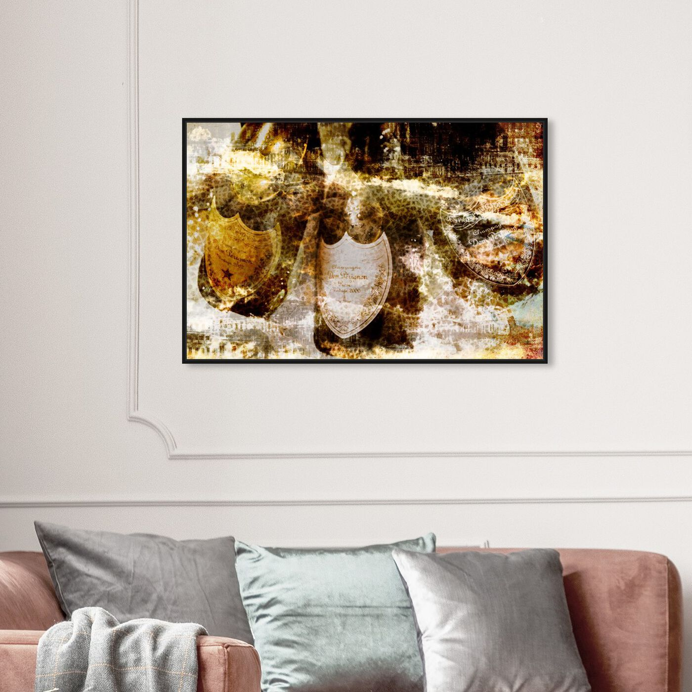 Hanging view of Champagne Bath Brass featuring drinks and spirits and champagne art.