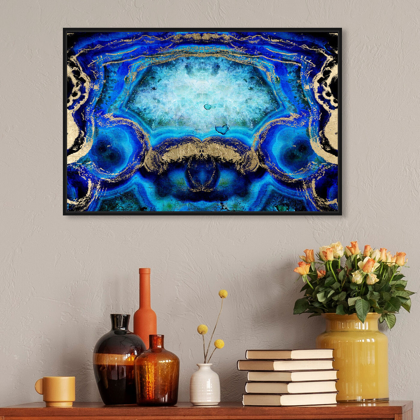 Hanging view of Geode Bleu featuring abstract and crystals art.