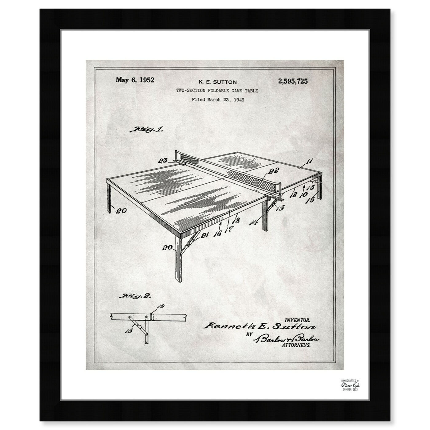 Front view of Ping Pong Table 1949. featuring sports and teams and table tennis art.