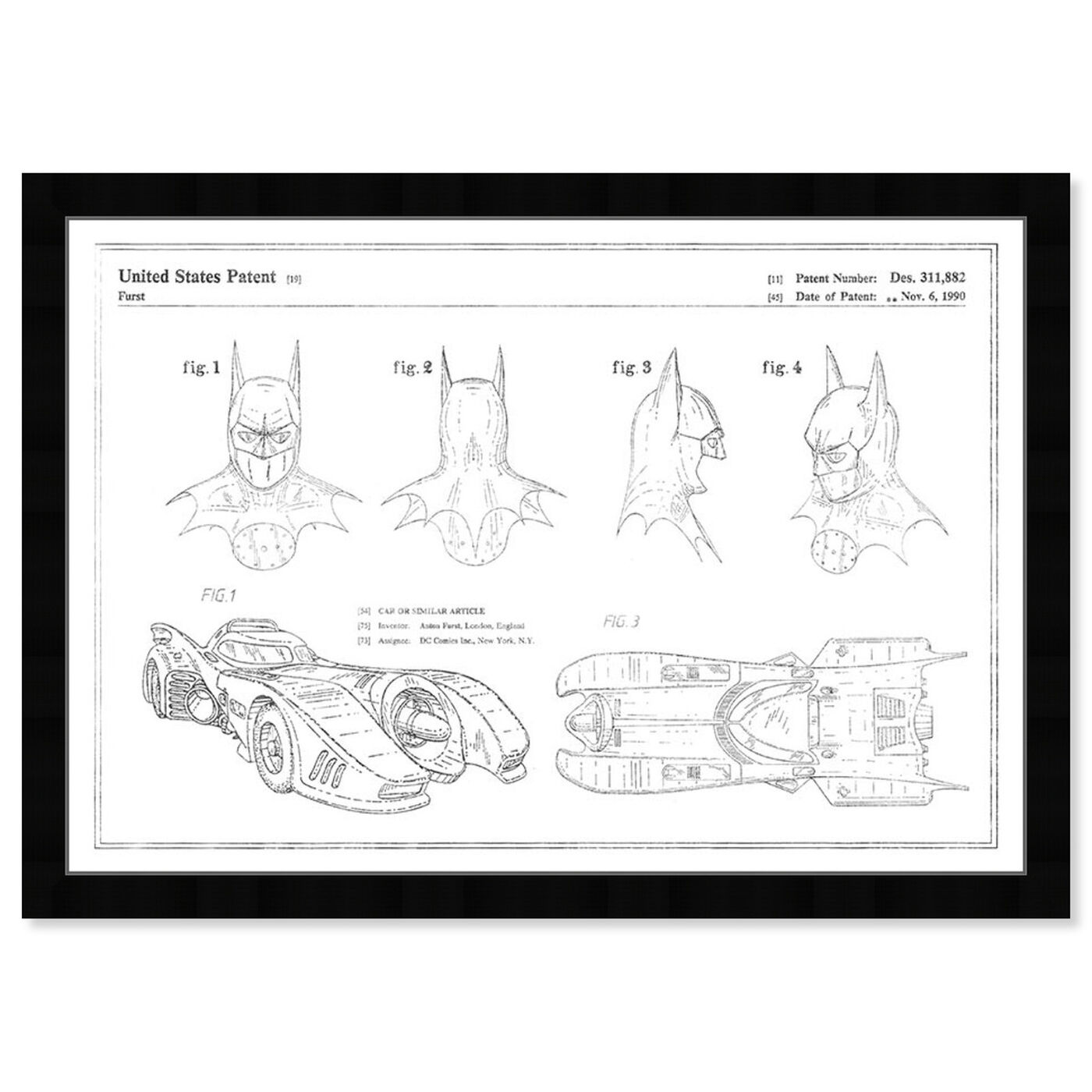 Front view of Batmobile and Accessories 19909, Silver Foil featuring movies and tv and movies art.