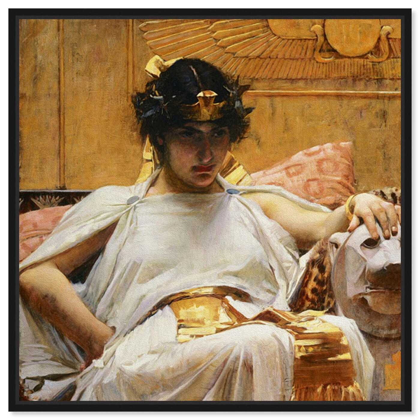 Front view of Waterhouse - Cleopatra 1888 featuring classic and figurative and classical figures art.