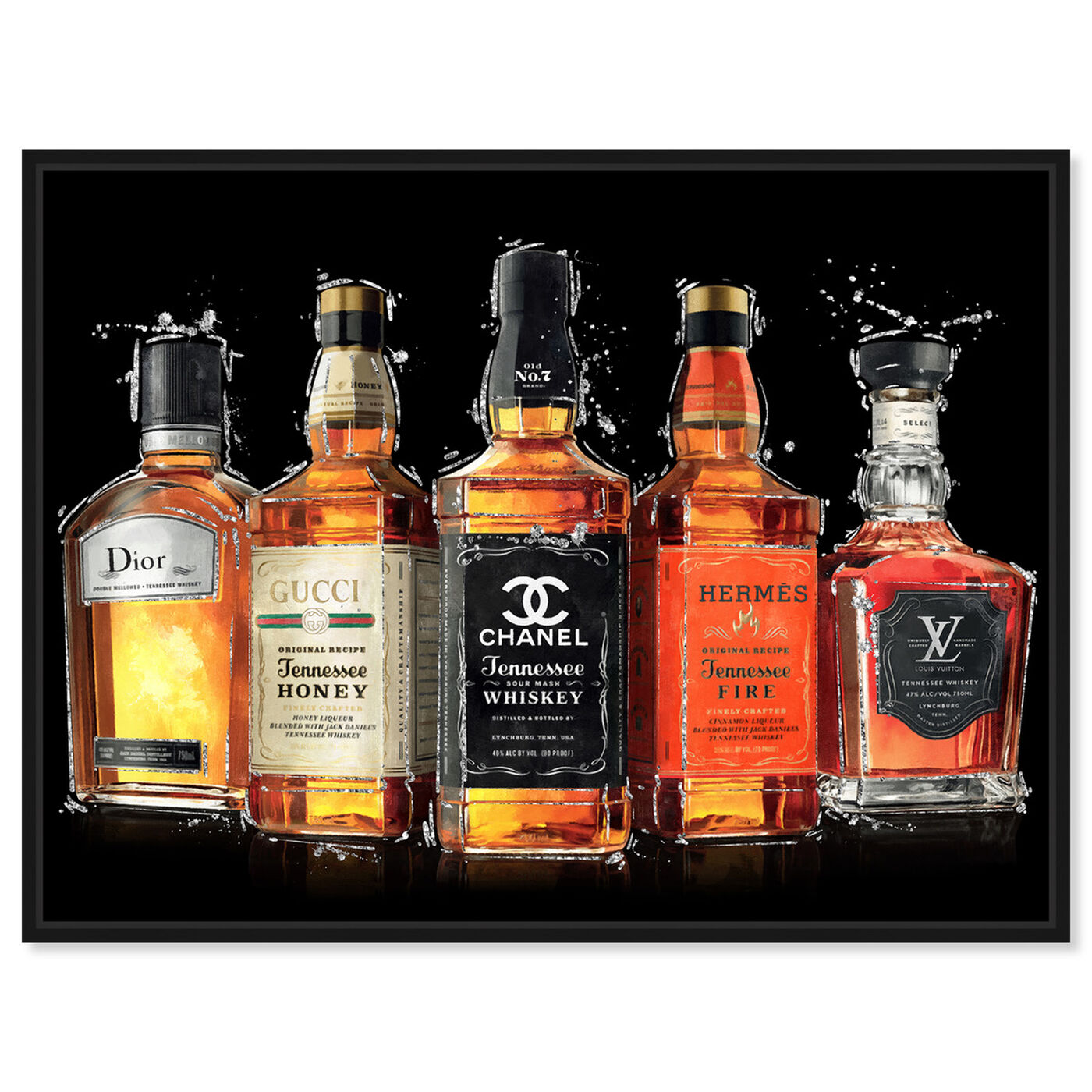 Front view of Fashion Whiskey Collection featuring drinks and spirits and liquor art.