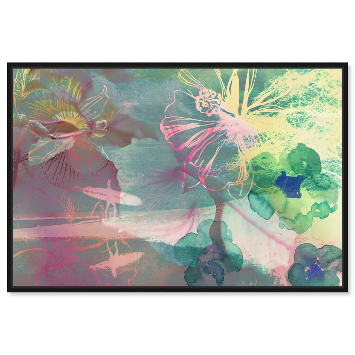 Front view of Surfer Girl I featuring abstract and flowers art.