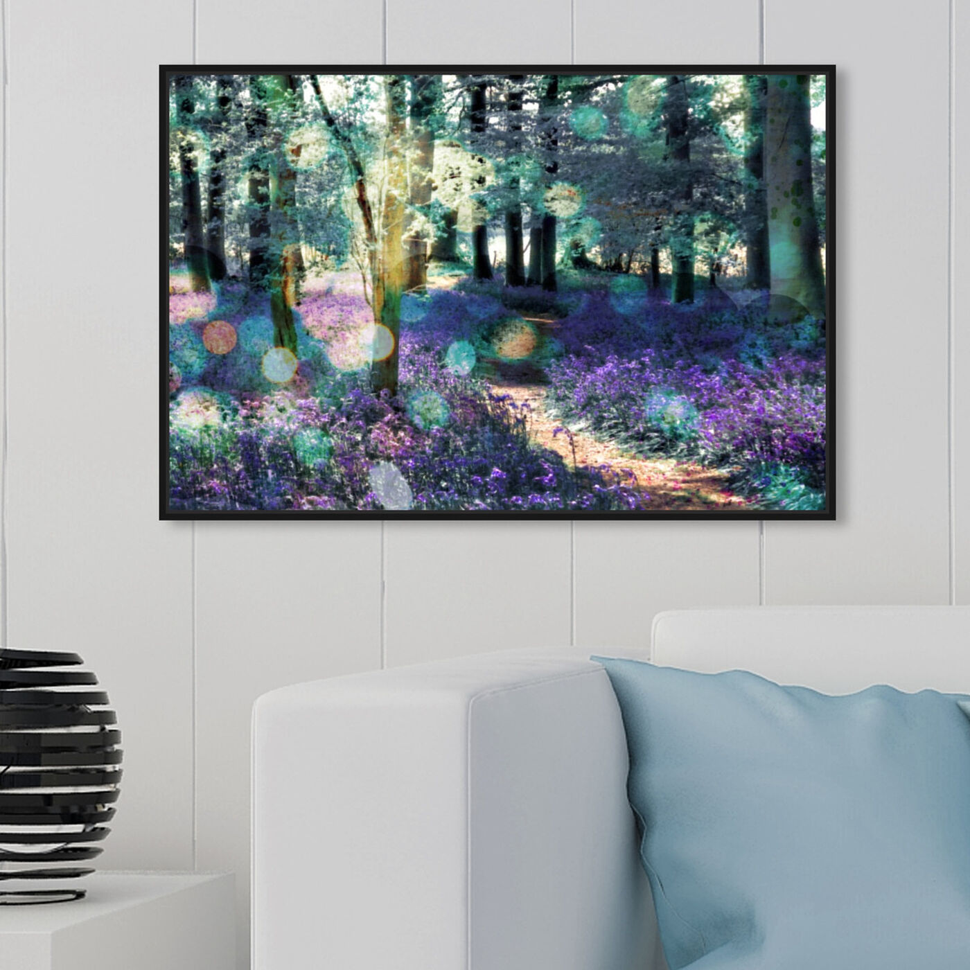Hanging view of Lavender Morning featuring nature and landscape and forest landscapes art.