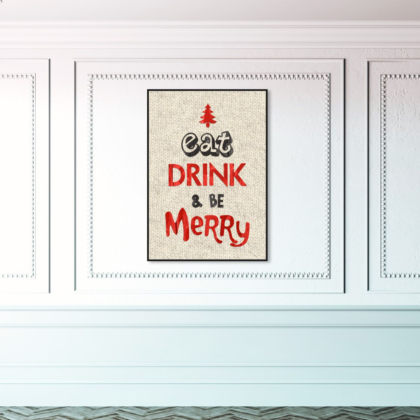 Hanging view of Eat Drink and Be Merry featuring holiday and seasonal and holidays art.