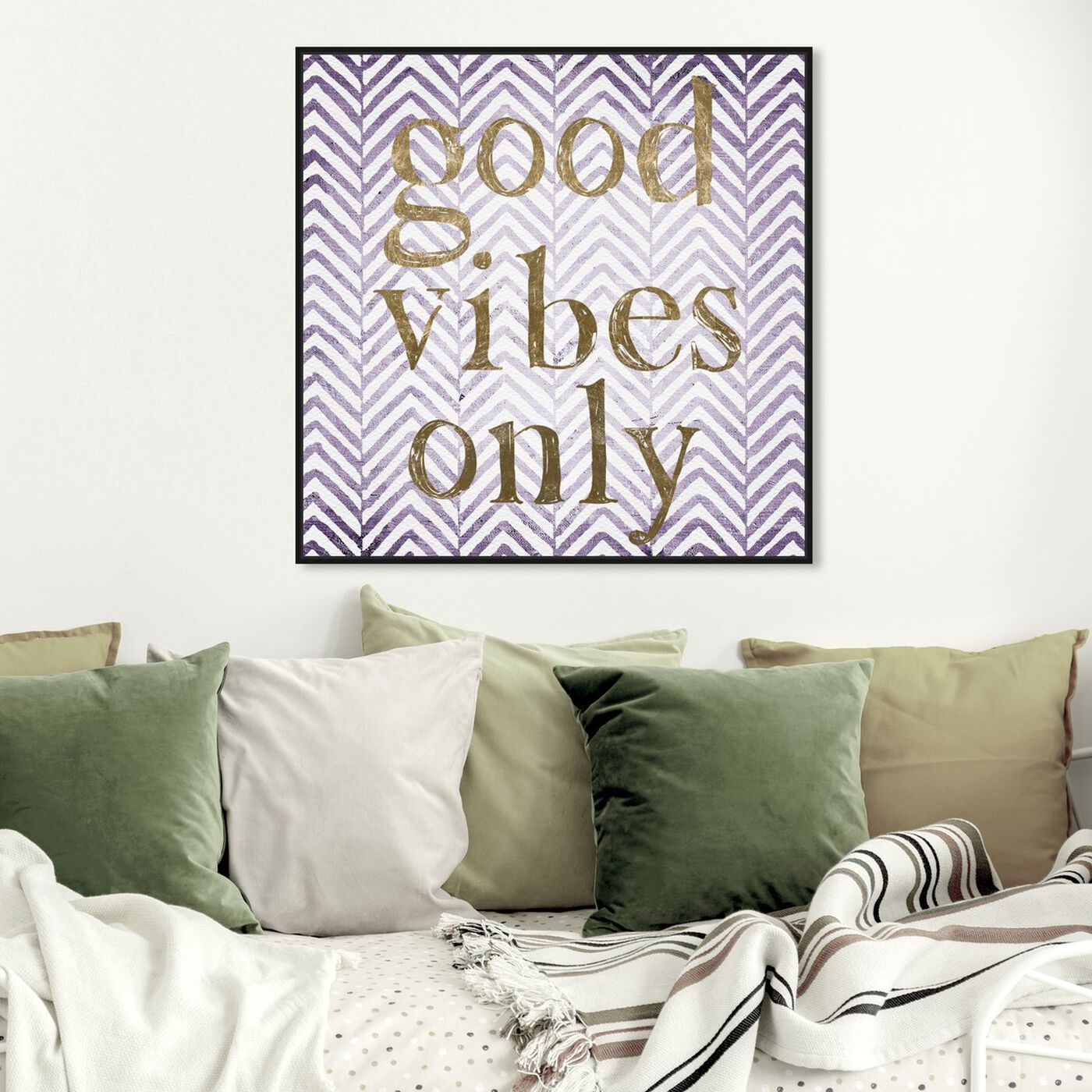 Hanging view of Good Vibes Only - Tan featuring typography and quotes and inspirational quotes and sayings art.