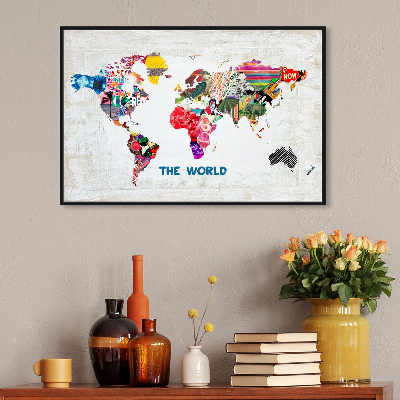 Hanging view of Hipster Mapa Mundi featuring maps and flags and world maps art.