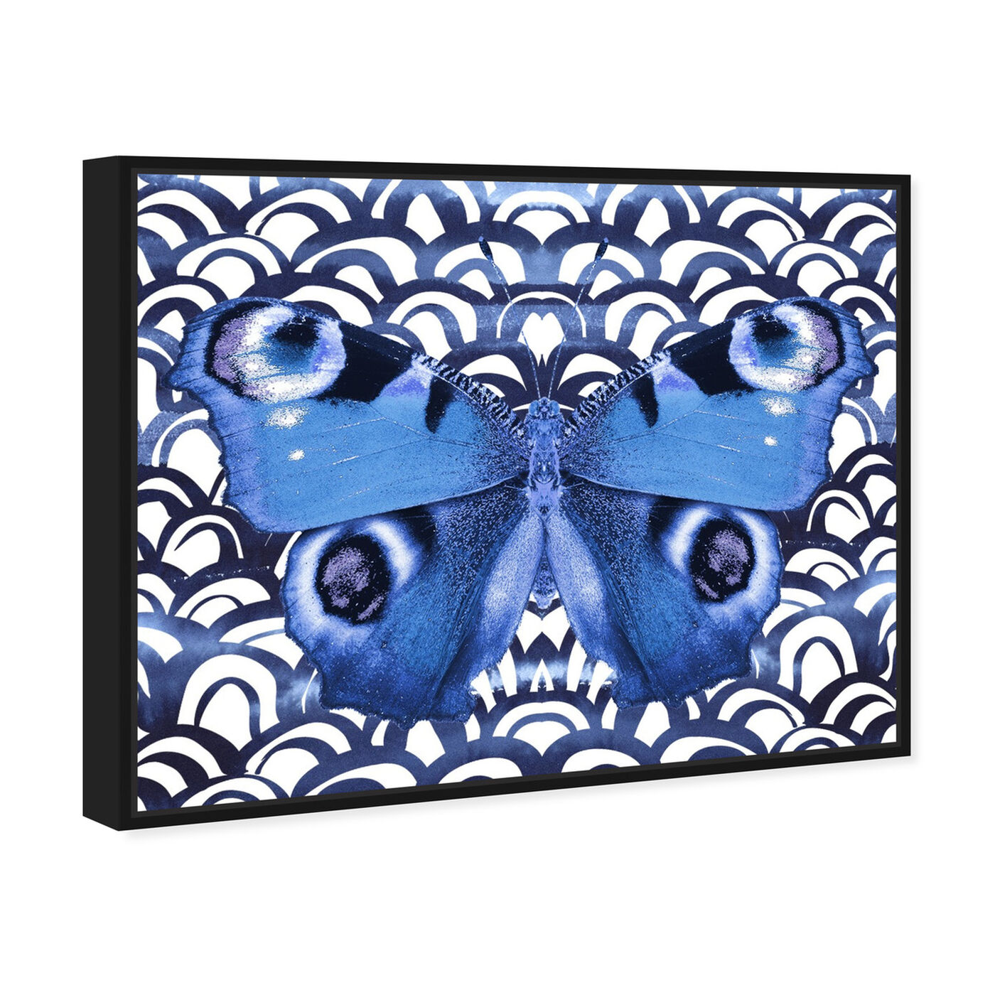 Angled view of Butterfly Indigo featuring animals and insects art.