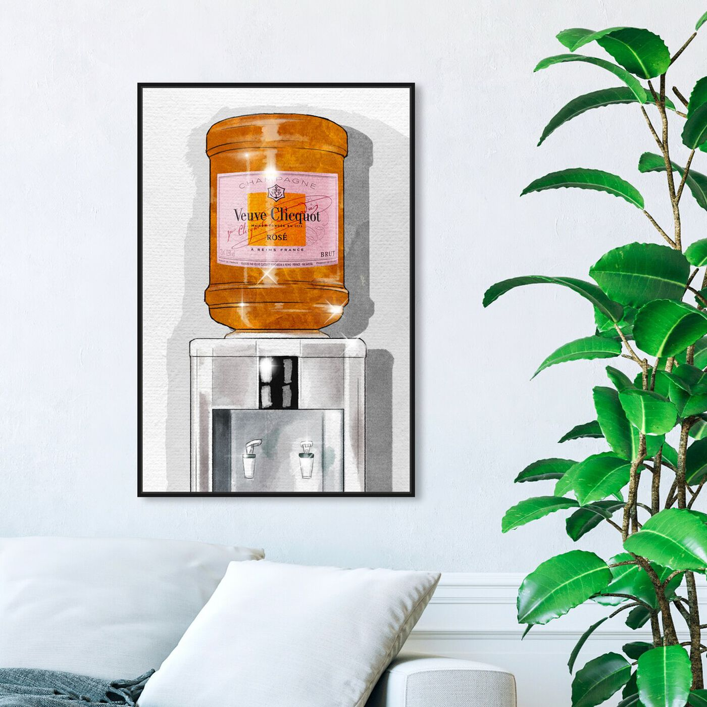 Hanging view of Parisian Orange Champagne Watercooler featuring fashion and glam and lifestyle art.