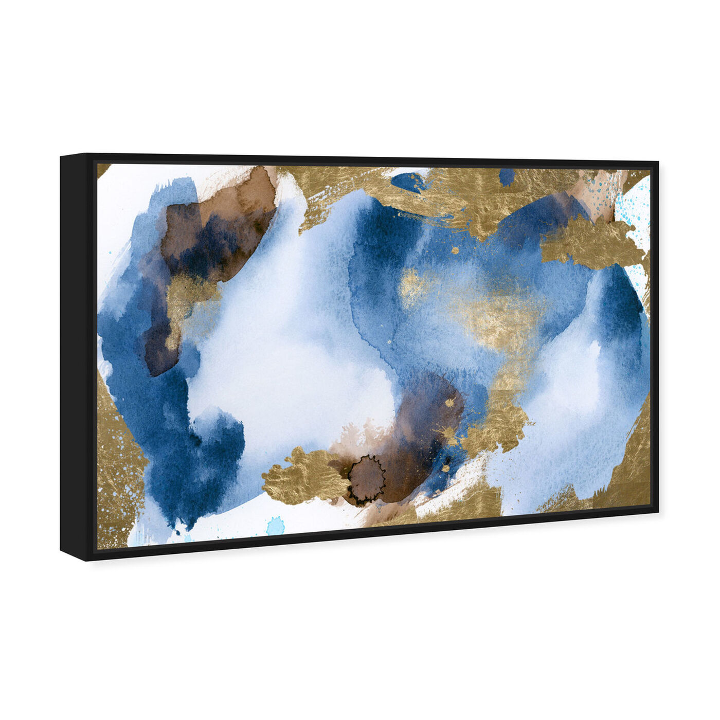 Angled view of Blue In Gold featuring abstract and watercolor art.
