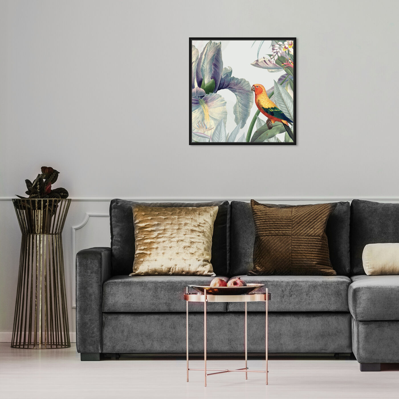 Hanging view of Natura featuring animals and birds art.