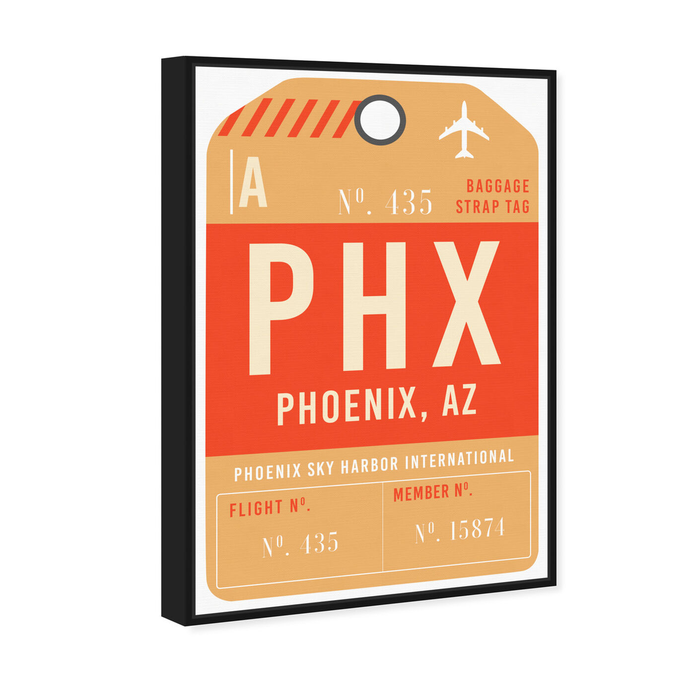 Angled view of Phoenix Luggage Tag featuring cities and skylines and united states cities art.