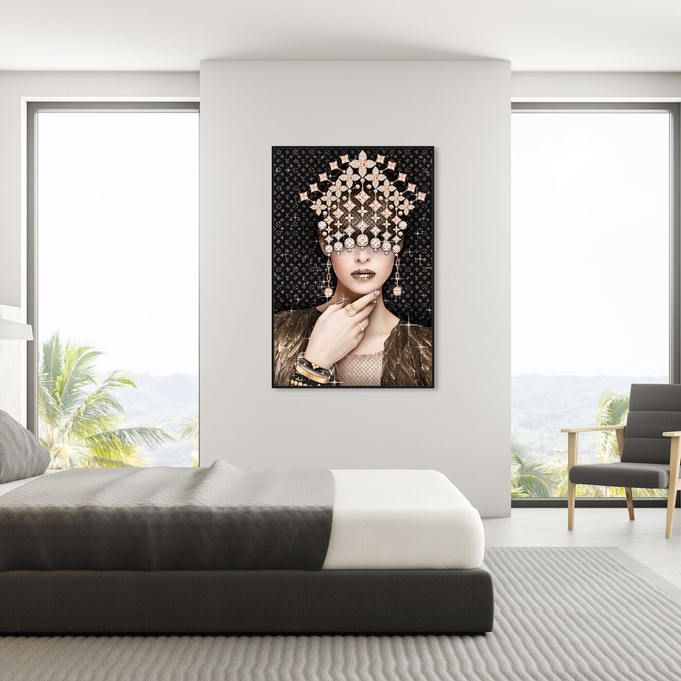 Hanging view of Monogram Lux featuring fashion and glam and jewelry art.