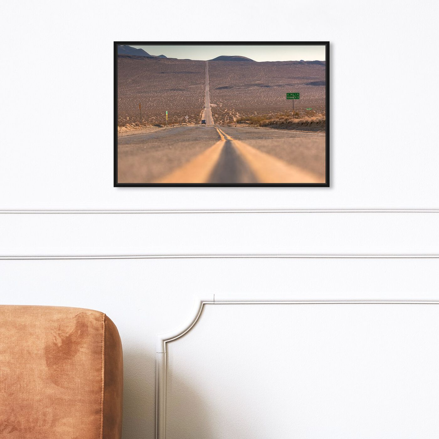 Hanging view of Curro Cardenal - American Road featuring nature and landscape and desert landscapes art.