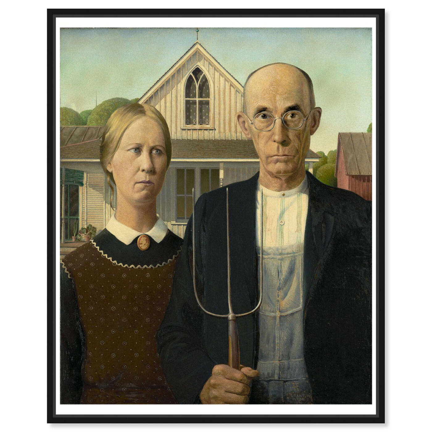Front view of Wood - American Gothic featuring classic and figurative and renaissance art.