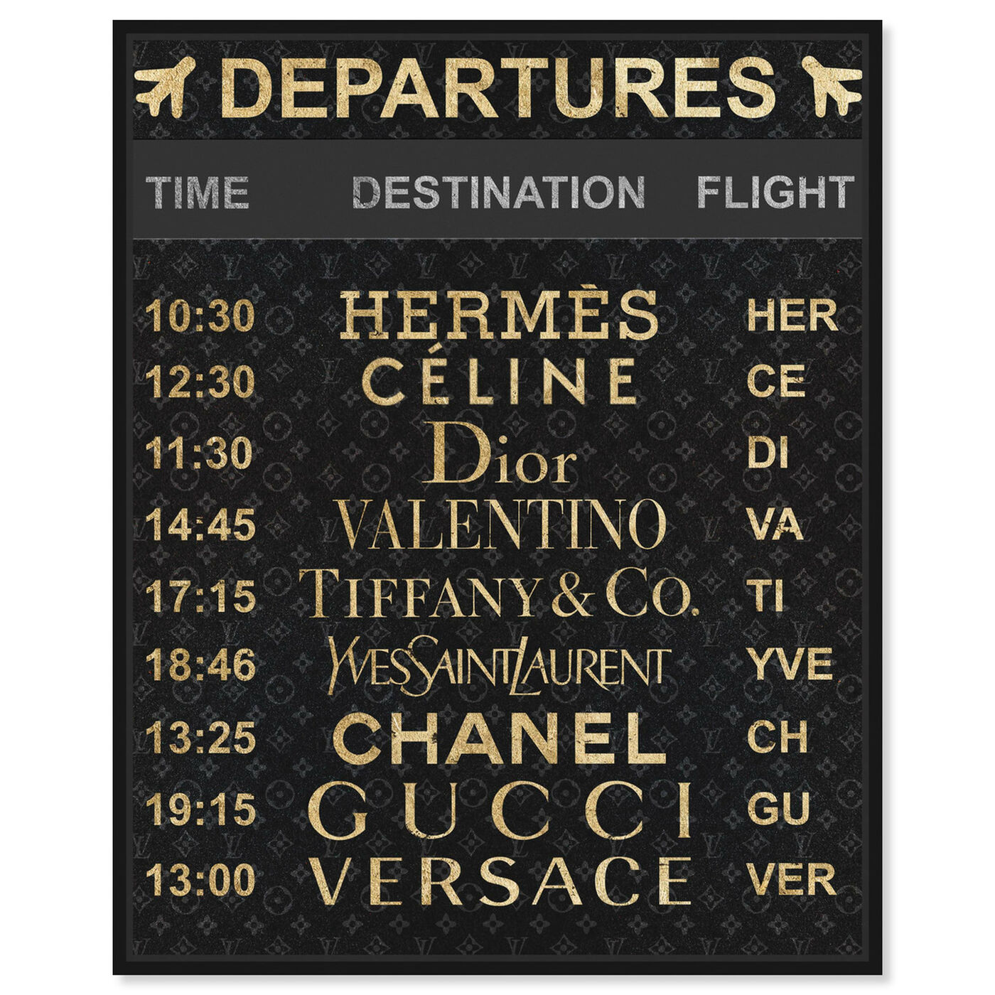 Front view of Luxe Departures featuring fashion and glam and travel essentials art.