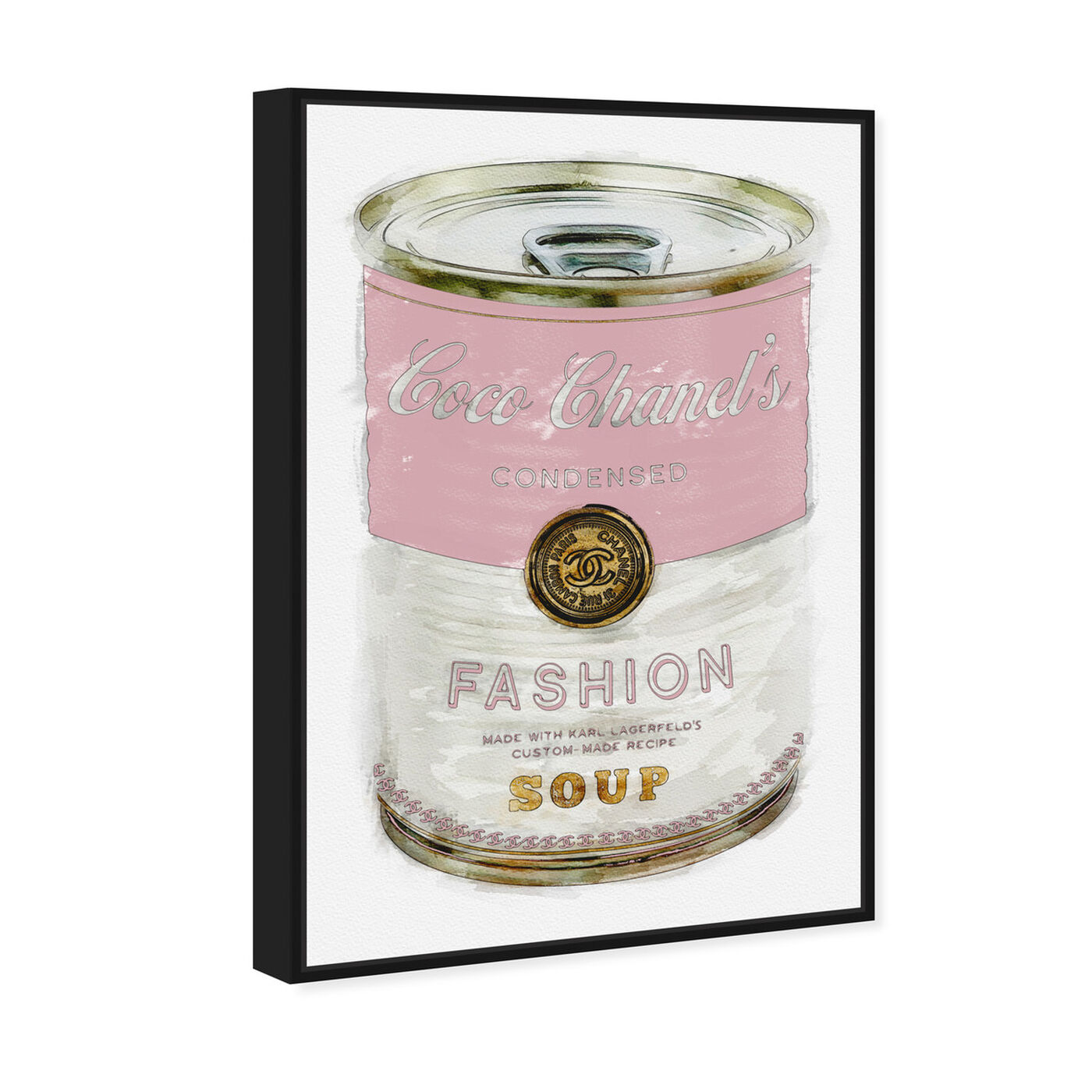 Angled view of Fashion Soup Pink featuring fashion and glam and soup can art.