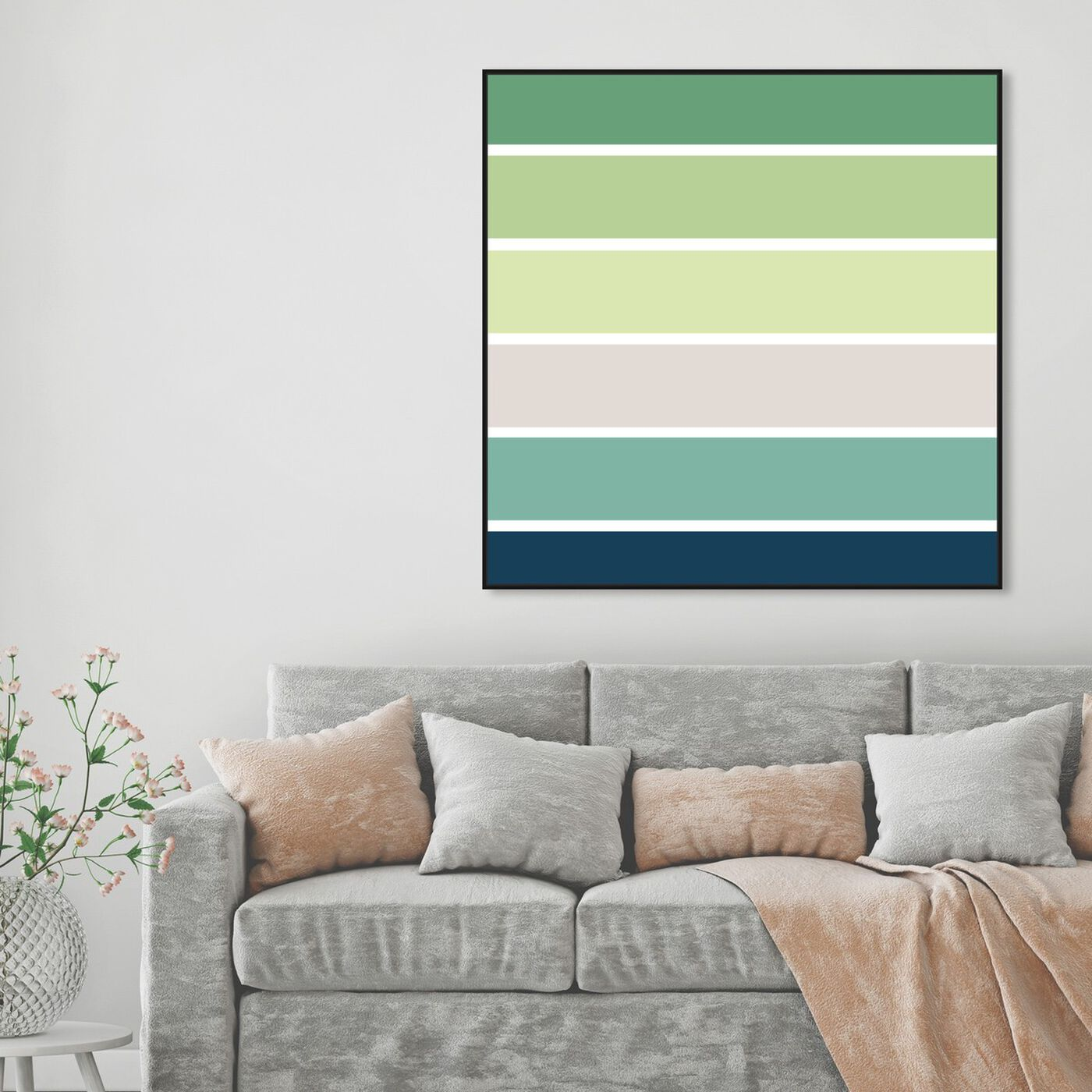 Hanging view of Green Sprouts featuring abstract and paint art.