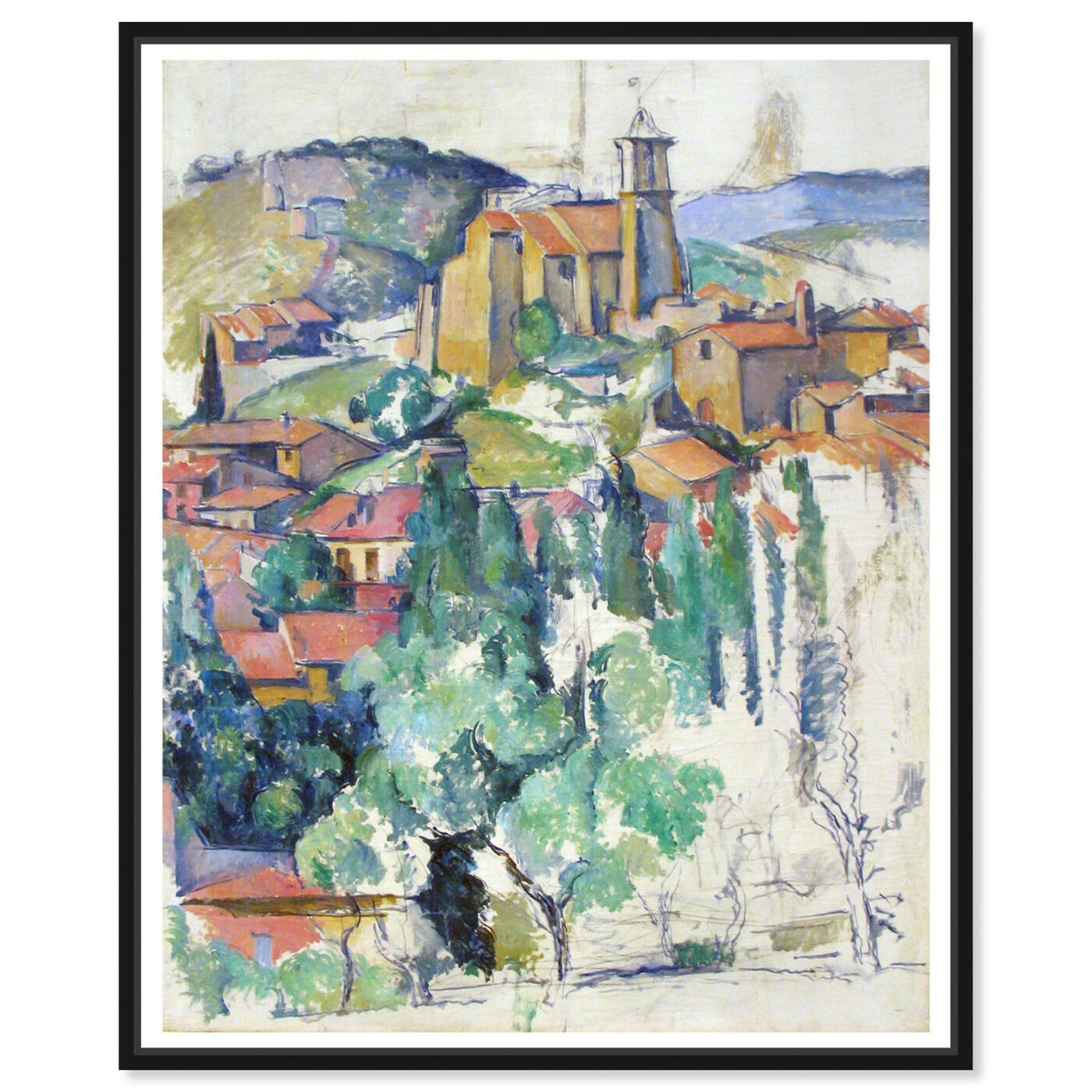 Front view of Cezanne - Village At Gardanne featuring classic and figurative and classic art.