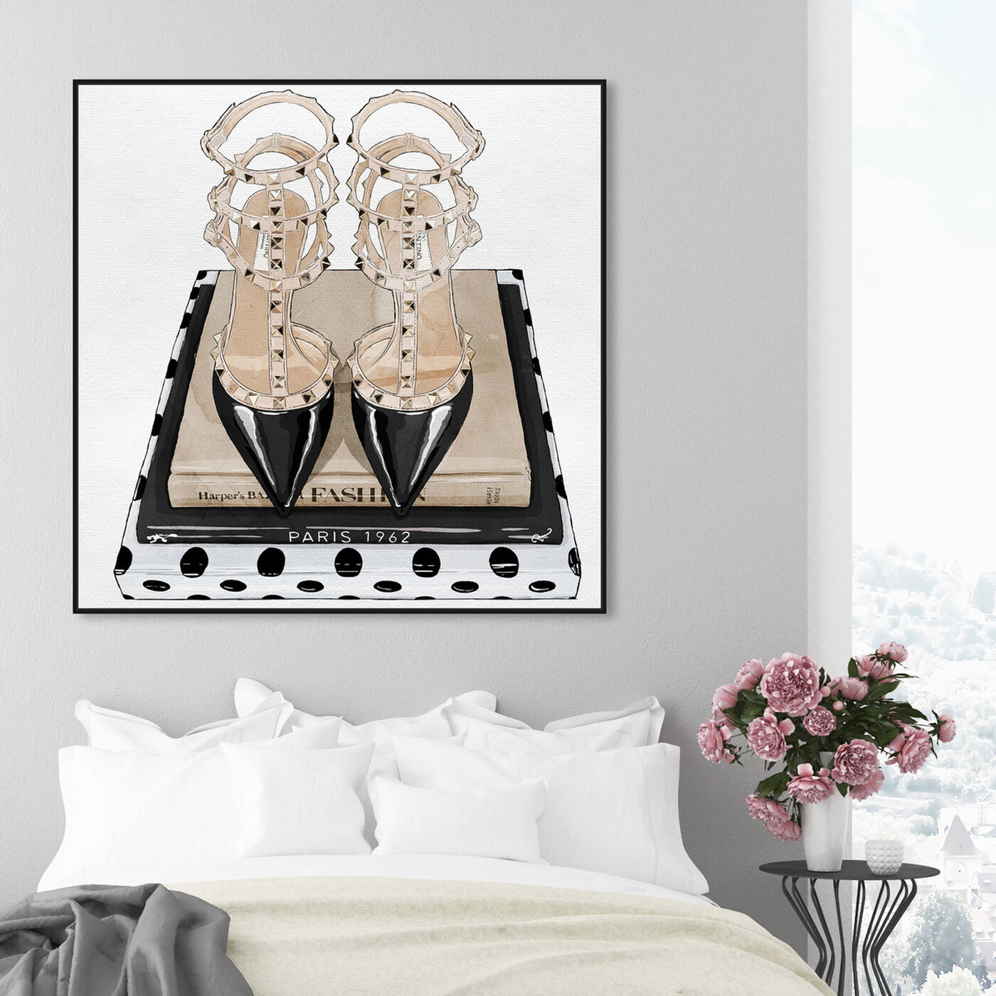 Hanging view of Girl Power Books Taupe I featuring fashion and glam and shoes art.