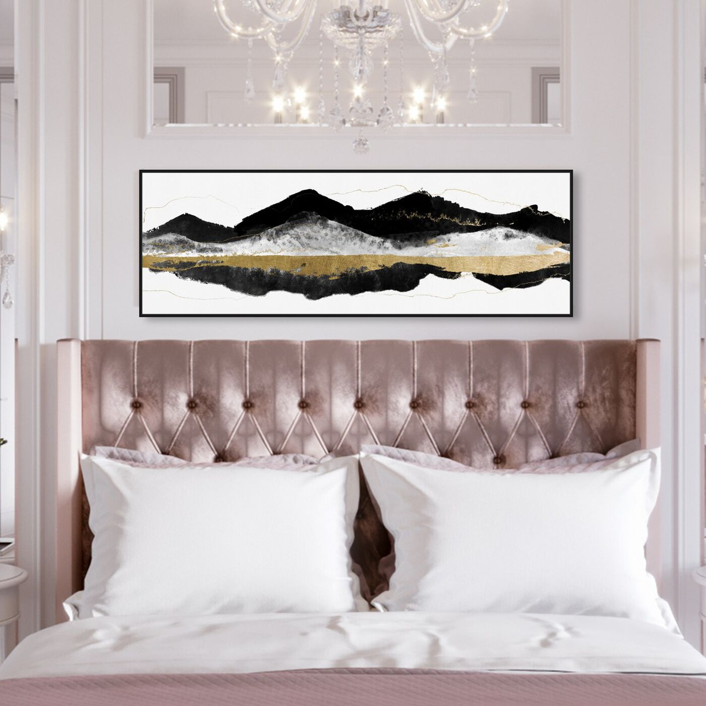 Hanging view of Noir et Gold Mountains featuring abstract and paint art.