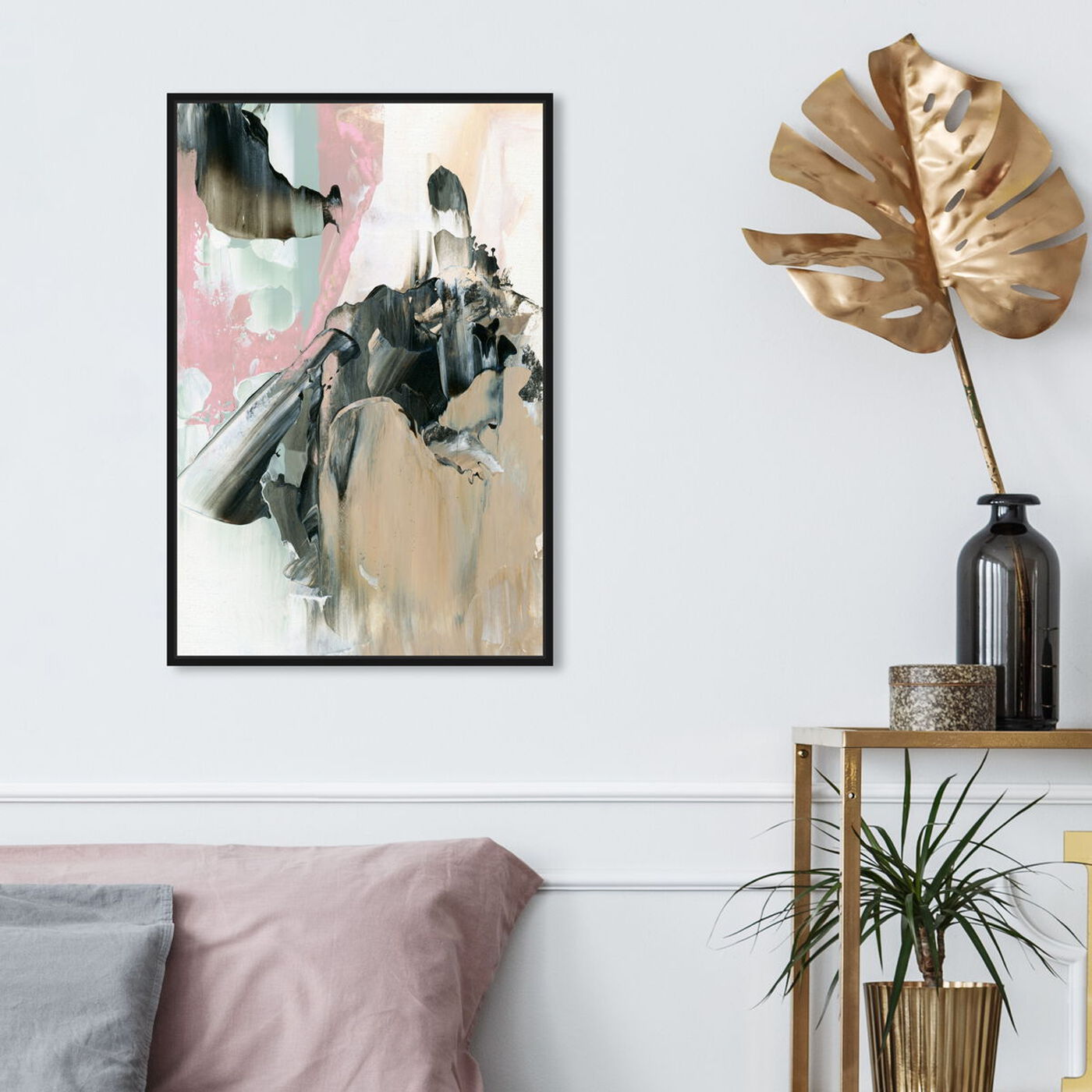 Hanging view of Pink And Greys featuring abstract and paint art.